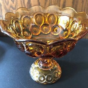 "VINTAGE 7"" LE SMITH MOON AND STARS AMBER COMPOTE"